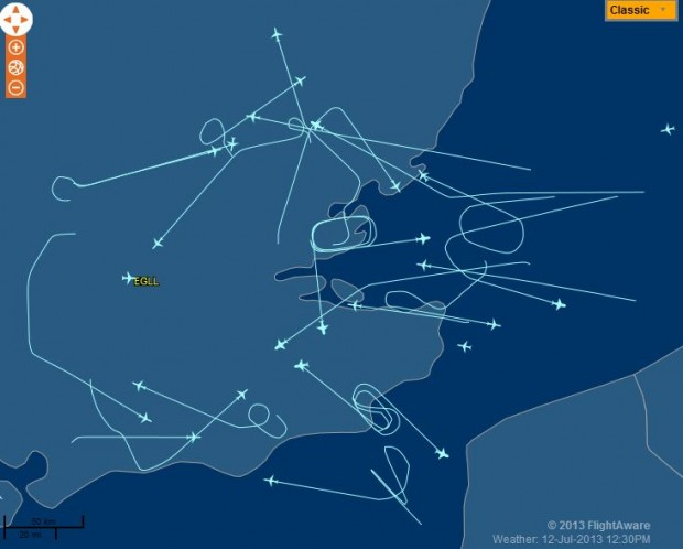 Aircraft circle and divert as the runways at LHR are currently closed