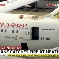 Image showing the fire damage to the Ethiopian 787