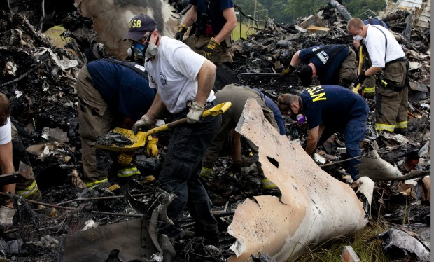 Investigators combing through wreckage from UPS flight 1354. (Photo: NTSB Flickr)