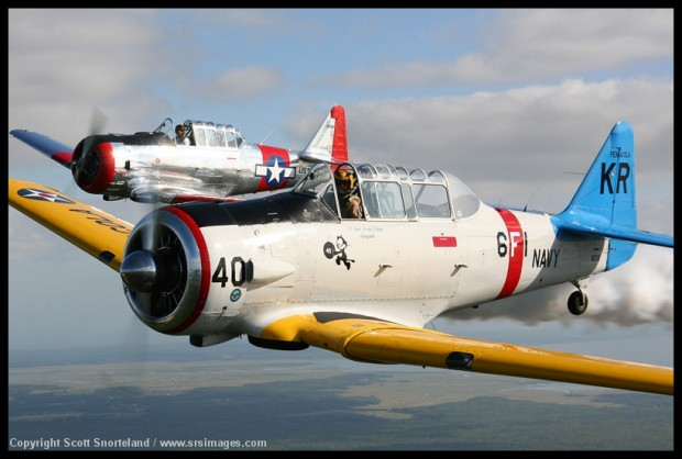 Kevin Russo flys with Buzz Cortese, part of the warbird flight. Photo Scott Snorteland