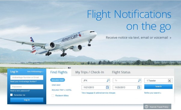 Clean lines, high resolution images, and important info all up front on the American Air site
