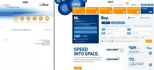 A look at the JetBlue.com page in 2000 and 2013
