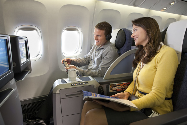 "Business class on United's ""refreshed"" B757 P.S. flights to JFK (Credit: United Airlines)"