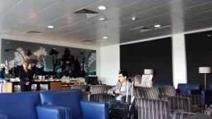 The modest lounge at LCY. It's small, but only needs to house 32 passengers, max.