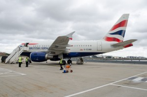 British Airways A318 on the ramp at LCY