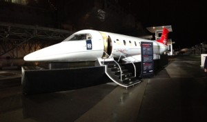 The wing-less and engine-less Learjet 85 fuselage on display at the Intrepid Sea, Air and Space Museum in New York City. Photo credit: Stephen Weisbrot
