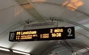 A sign at the Bank DLR station directs passengers to London City Airport