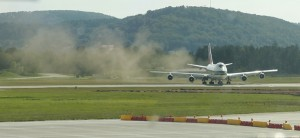 """The Evergreen 747 Supertanker literally """"bites the dust"""" at Rammstein Air Base in Germany. Photo by Phil Derner Jr."""