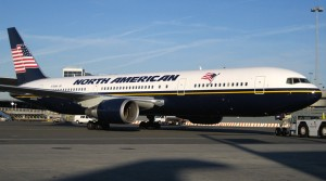 A Boeing 767-300ER in North American Airlines livery, shown here in July 2010. (NYC Aviation file photo)