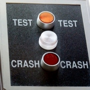 "The ""crash button"". Photo by David Abbey"