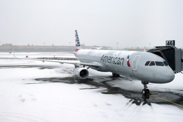 American Airlines' newest addition to the fleet parked at JFK's Gate 46. (Photo by the author)
