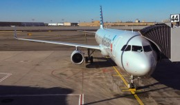 American Airlines' brand new A321T aircraft at gate 44 of New York's John F. Kennedy International Airport, Terminal 8.
