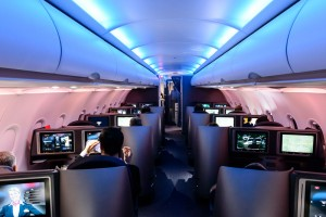 Business Class Cabin in-flight on American Airlines A321T