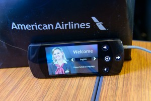 Closeup of Touch Remote Controller on American Airlines A321T