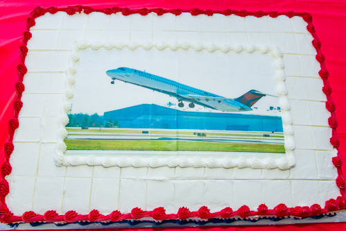 One of three cakes present at the pre-flight festivities.