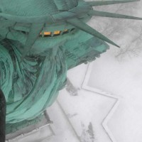 View from EarthCam's Statue of Liberty torch camera as of 8:45am EST.