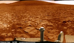 Opportunity rover's 1st mountain climbing goal is dead ahead in this up close view of Solander Point at Endeavour Crater. Opportunity has ascended the mountain looking for clues indicative of a Martian habitable environment. This navcam panoramic mosaic was assembled from raw images taken on Sol 3385 (Aug 2, 2013). (Photo courtesy NASA/JPL/Cornell/Marco Di Lorenzo/Ken Kremer - www.kenkremer.com)