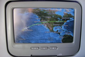 The moving map, a short while before landing in Honolulu.