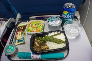 Dinner onboard the flight home.