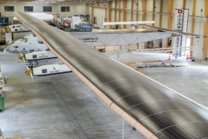 Solar Impulse 2, the single seater solar airplane with which they will attempt in 2015 the first round-the-world solar flight.