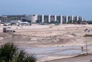 View of the runway construction with Terminal 4 in the background (Mark Lawrence)