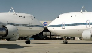 N905NA (right) shown nose-to-nose with with N911NA at Dryden Flight Research Center in 1995. (Photo courtesy of NASA)
