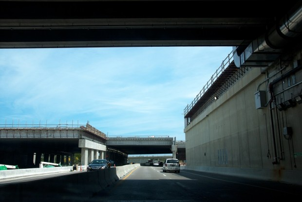 Driving on US 1 under the new runway. (Mark Lawrence)