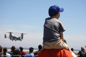 A Marine Corps MV-22 Osprey hovers for the crowd. Photo Scott Snorteland