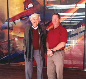 Hal Holbrook (left), voice of firefighter Mayday in a photo with the author (photo courtesy Eric Auxier)