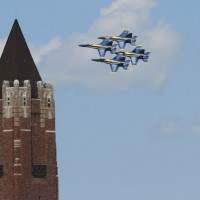 The Blue Angels fly past the water tower at Jones Beach