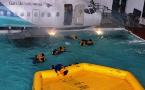 Flight attendants training for a water landing in Indonesia. Image courtesy the US Department of State.