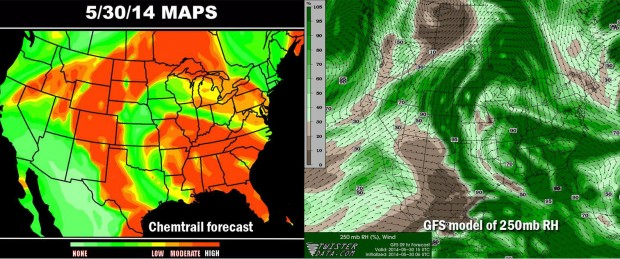 "On the left is a map that is purported to be the ""chemtrail forecast"" for May 30, 2014. a ""greater liklihood of chemtrails' is shown in reds and oranges. On the right is the actual GFS forecast for upper level humidity levels, showing higher humidity levels in darker shades of green. Notice the similarities between the two maps. Inage courtesy Meteorologist Jacob Wycoff."
