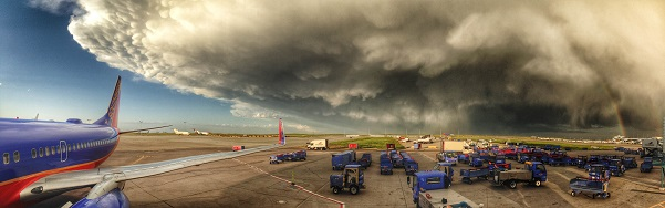 Panoramic shot of a thunderstorm near Denver Airport on June 4, 2014 (Photo: Paul Thompson, @FlyingPhotog on Twitter)