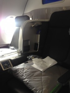 JetBlue's Mint seats were designed by Thompson Aero and are laid out in an alternating 2-2, 1-1 configuration. (Photo by the author)