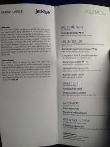 The menu available to Mint passengers is inspired by NYC eateries. (Photo by the author)