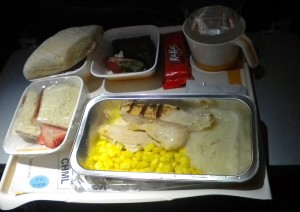 Lufthansa's children's meal consisting of grilled chicken with corn and mashed potatoes (Mark Lawrence).