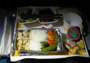 Lufthansa's main course of chicken, rice and vegetables. (Mark Lawrence)