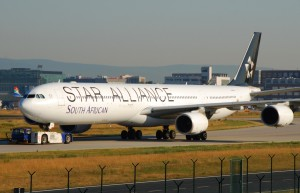 The flight to Johannesburg was operated by South African's A340-600 wearing the special Star Alliance scheme. (Wikimedia Commons)
