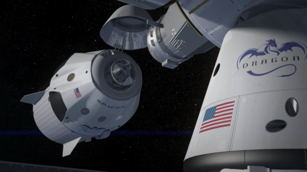 SpaceX Dragon V2 docks at the ISS. Credit: SpaceX