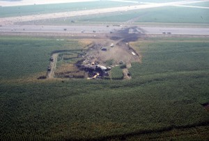 Aerial view of the main wreckage. (Iowa Public Radio)