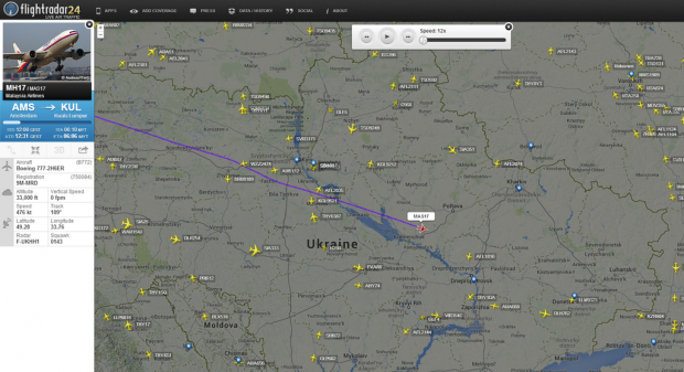 Malaysia Airlines flight #MH17 just before it disappeared over Ukraine.