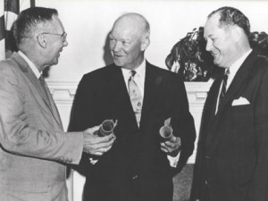 President Eisenhower (center) appoints Hugh Dryden and T. Keith Glennan as NASA's first administrators.