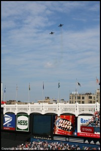 US Navy F-18 Superhornets from NAS Oceana perform flyover at Yankee Stadium 2006.  Photo Scott Snorteland