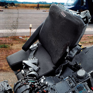 The cockpit seats along with the mangled thrust levers that were used to steer the plane. (Iowa Department of Public Safety)