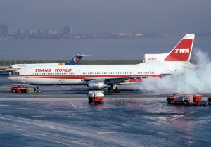 A smokey start for this TWA L-1011. (Photo by Howard Chaloner)
