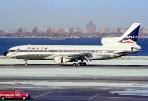 Delta Air Lines L-1011 rolling out after landing on runway 31. Note the bi-centennial widget, which was applied to the Delta fleet during the USA's 200th birthday celebration in 1976. (Photo by Howard Chaloner)