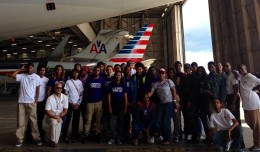 Aviation Exploration Apprenticeship students at a tour of American Airlines' ORD maintenance hangar.