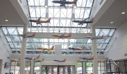 Large models illustrating Southwest's special liveries hang in the atrium of the company's HQ. Photo courtesy JL Johnson, AirlineReporter.com