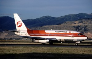 A Frontier 737 wearing the Saul Bass-designed livery introduced in 1978 (Photo: Edward Marmet).