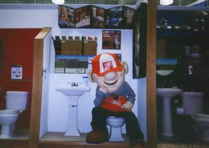 "Phil Derner in ""Homer D. Poe"" mascot costume in 2001."